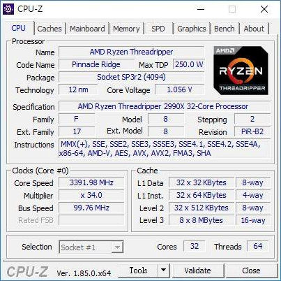 AMD Ryzen Threadripper 2990X CPUZ 0