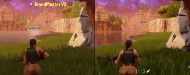 Fortnite en Nintendo Switch vs Xbox One X; 900p @ 30 FPS con/sin Dock
