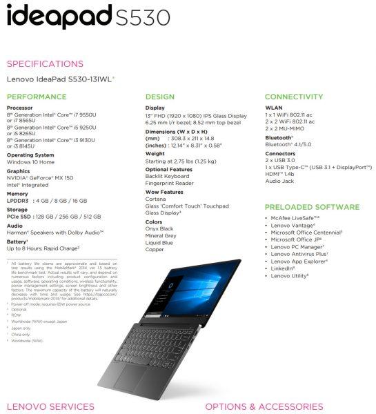 Lenovo IdeaPad S530 13IWL Core i7 9550U 545x600 0
