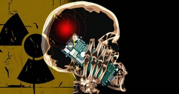 Un smartphone en la cabeza dando radiación SAR