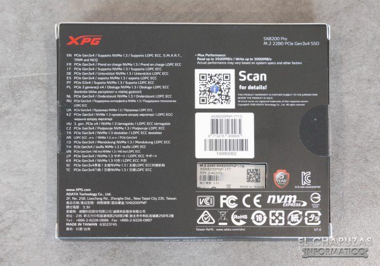 ADATA XPG SX8200 Pro Embalaje Trasero