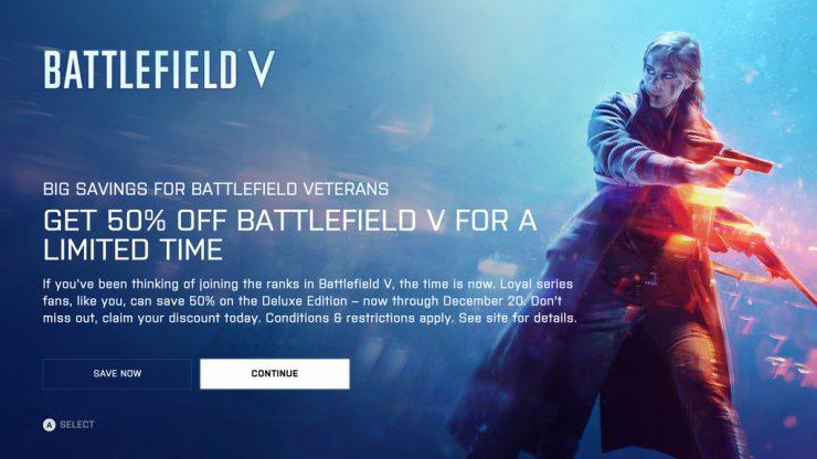Battlefield V un 50 por ciento más barato