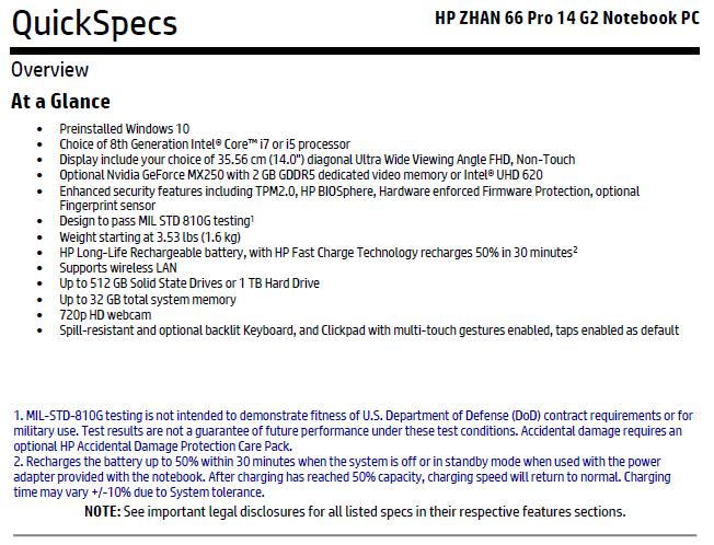 Especificaciones HP ZHAN 66 Pro 14 G2 con Nvidia GeForce MX250