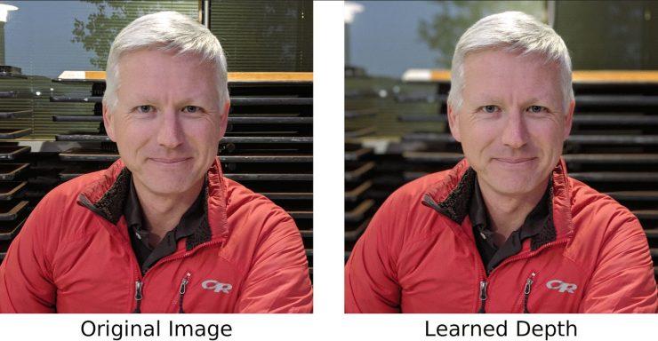 Imagen comparativa de un Pixel 3 en modo normal y modo retrato