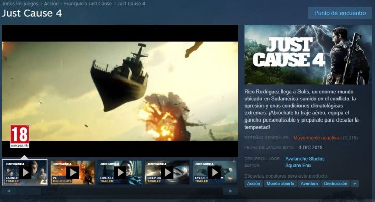 Valoraciones Steam Just Cause 4