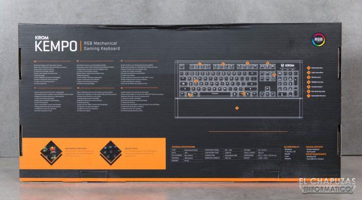 teclado krom kempo embalaje trasero