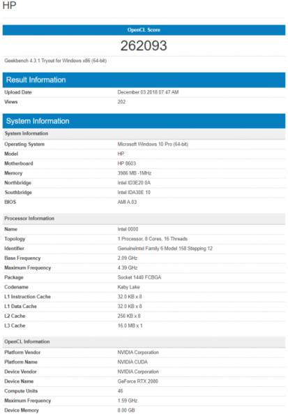 especificaciones Nvidia GeForce RTX 2080 Mobile - MaxQ
