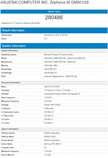 especificaciones Nvidia GeForce RTX 2080 Ti Mobile