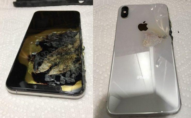 iPhone XS Max con la batería quemada