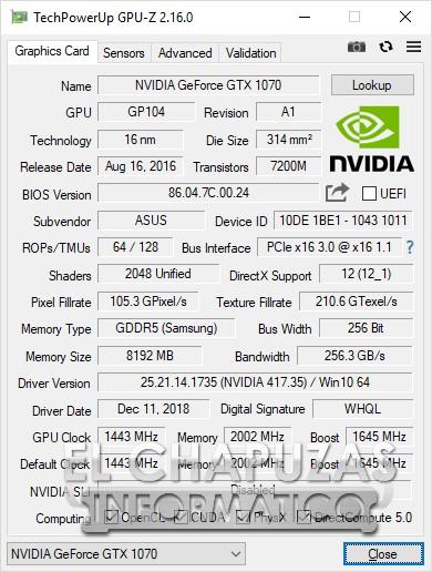 Asus ROG Strix Scar Edition (GL703GS) GPU-Z