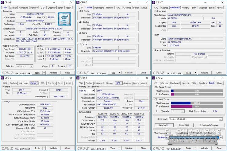 Asus ROG Strix Scar II - GL704GW - CPU-Z
