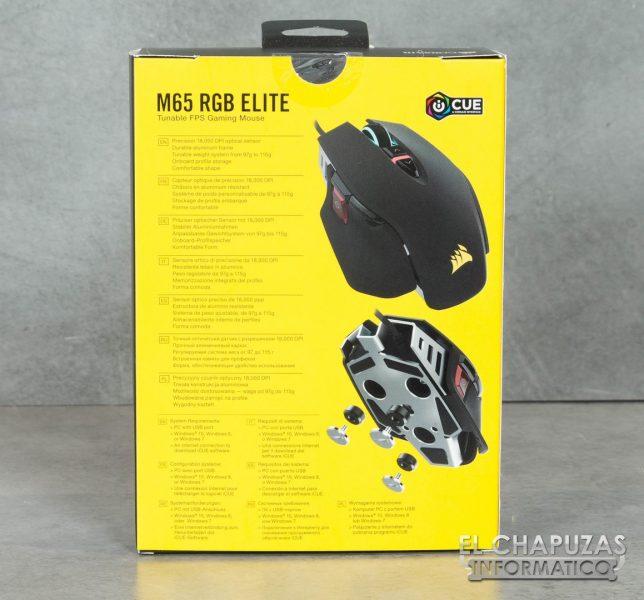Corsair M65 RGB Elite Embalaje Trasero
