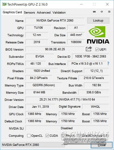 EVGA GeForce RTX 2060 XC Gaming CPU-Z