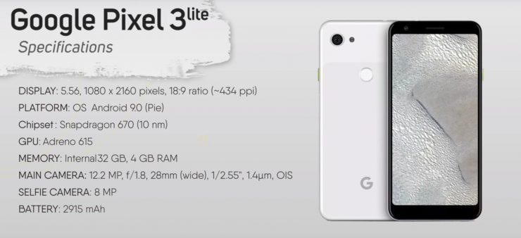 Especificaciones Pixel 3 Lite