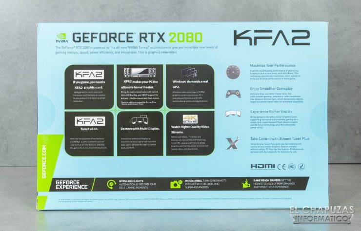 KFA2 GeForce RTX 2080 EX Embalaje Trasero