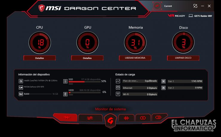 MSI GE75 Raider 8RF dragon center