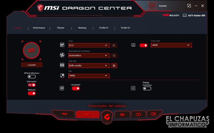 MSI GE75 Raider 8RF dragon center 1