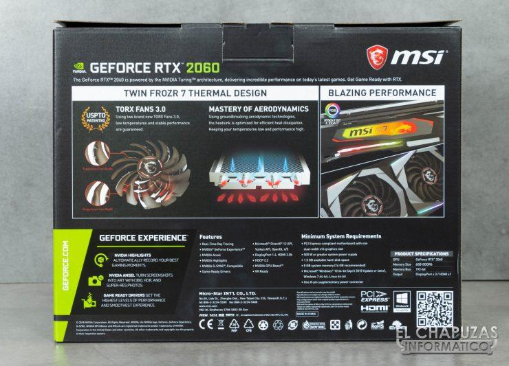 MSI GeForce RTX 2060 Gaming Z Embalaje Trasero