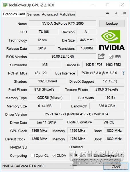 MSI GeForce RTX 2060 Gaming Z GPU-Z
