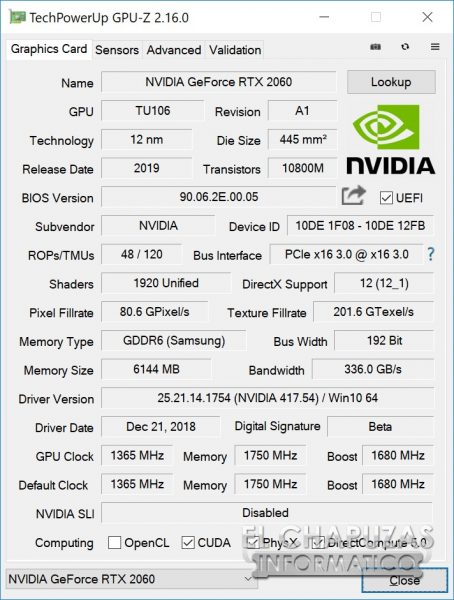 Nvidia GeForce RTX 2060 Founders Edition CPU-Z