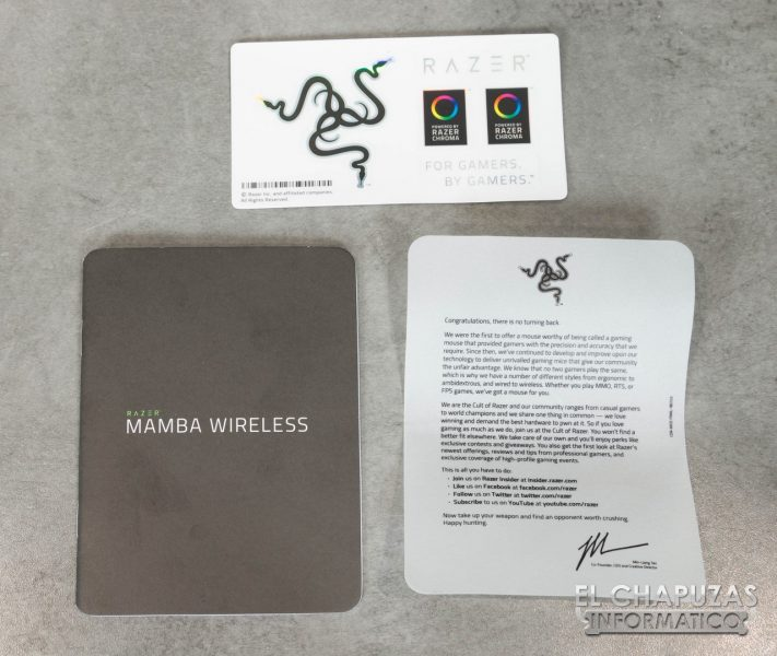 Razer Mamba Wireless Documentación y Pegatinas