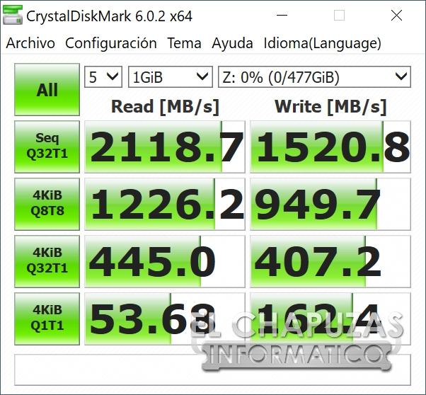 ADATA XPG Gammix S5 CrystalDiskMark Benchmark