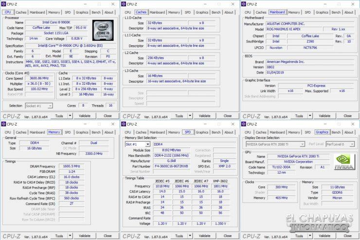 Asus ROG Maximus XI APEX CPU-Z