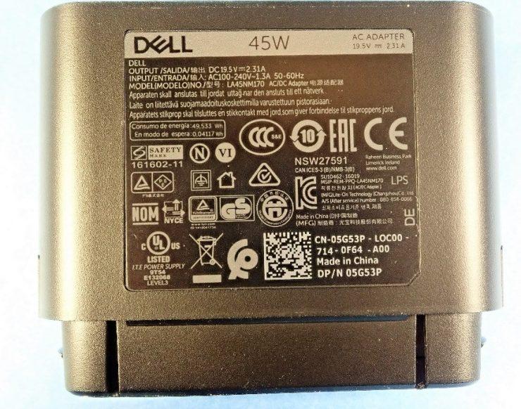 información cargador híbrido de Dell