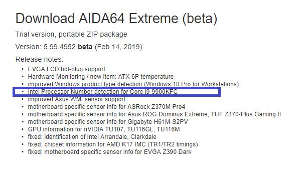 Core i9 9900KFC AIDA64 1