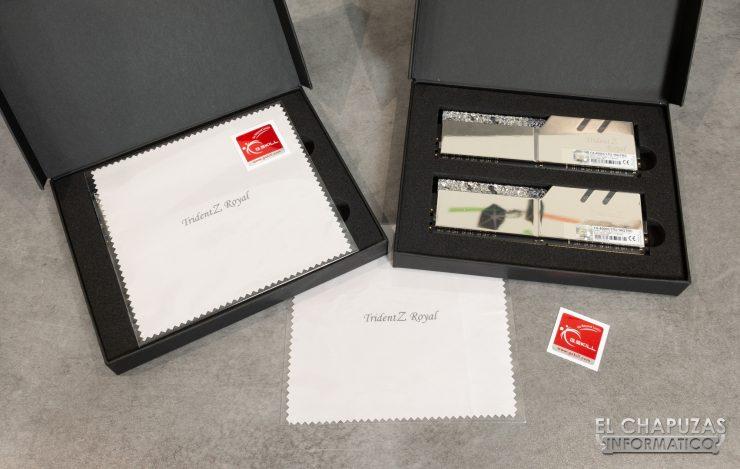 G.Skill Trident Z Royal DDR4 Embalaje Interior y Accesorios