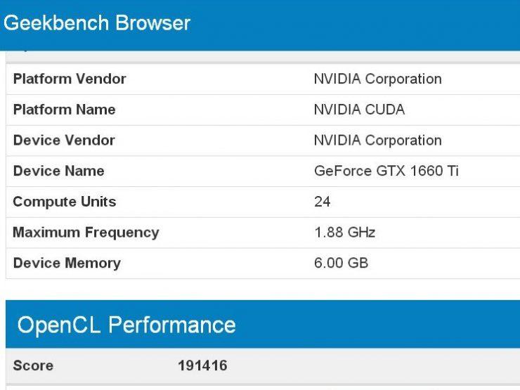GeForce GTX 1660 Ti Geekbench