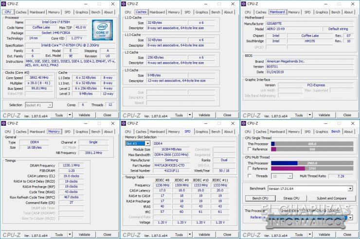 Gigabyte Aero 15-X9 CPU-Z