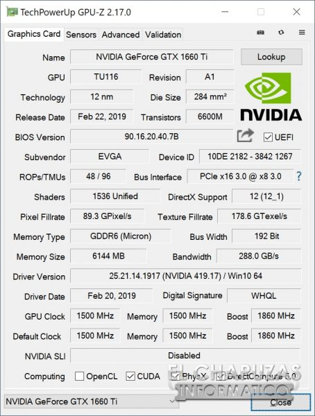 EVGA GeForce GTX 1660 Ti XC Ultra GPU-Z