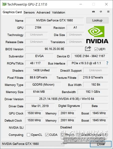 EVGA GeForce GTX 1660 XC Ultra - GPU-Z