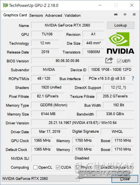 KFA2 GeForce RTX 2060 EX - GPU-Z