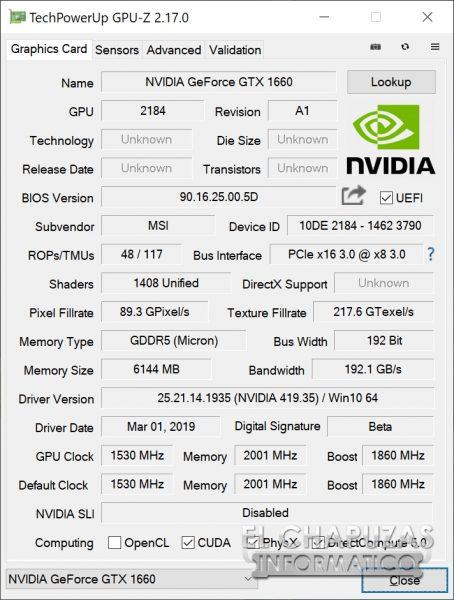 MSI GeForce GTX 1660 Gaming X - GPU-Z