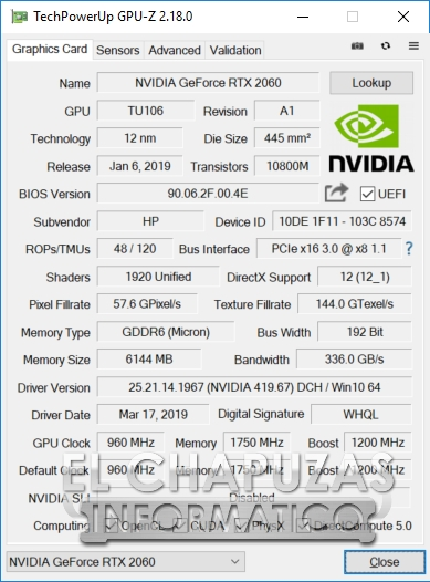 HP Omen 15-DC1000NS - GPU-Z