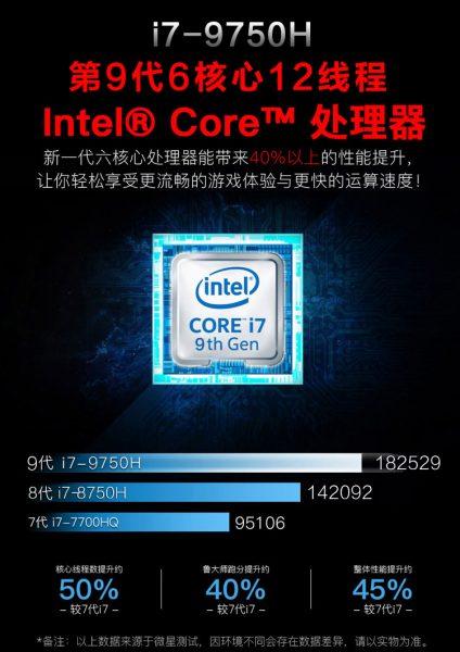 Core i7-9750H vs Core i7-8750H vs Core i7-7700HQ