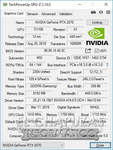 MSI Infinite X 9th - GPU-Z