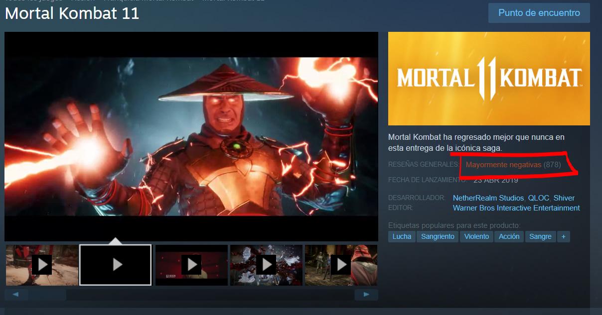 Mortal Kombat 11 es lo más vendido en Steam, pero también lo