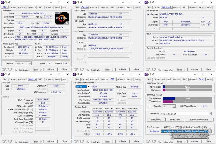 Asus TUF Gaming FX505D - CPU-Z