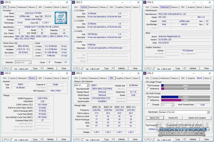 MSI GS75 Stealth 8SF - CPU-Z