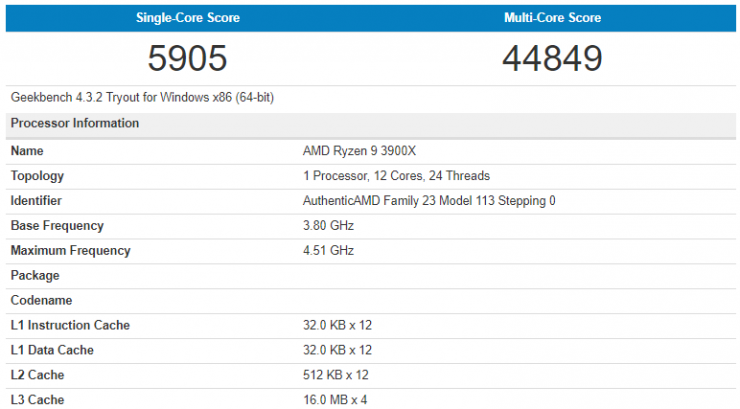 AMD Ryzen 9 3900X benchmark geekbench 740x409 0