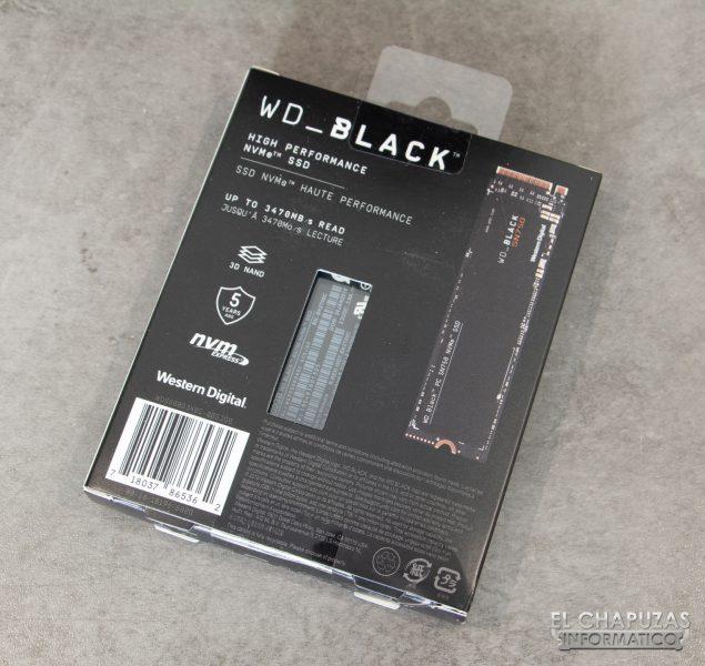 Western Digital Black SN750 NVMe SSD - Embalaje Trasero