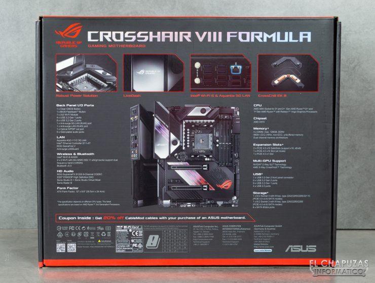 Asus ROG Crosshair VIII Formula - Embalaje trasero