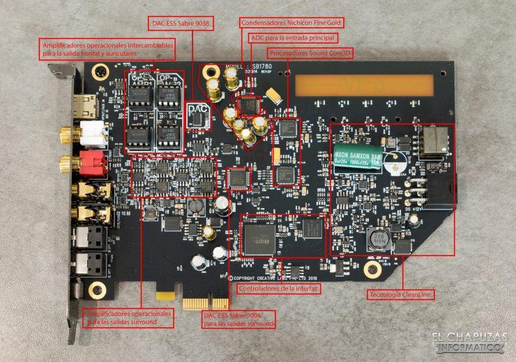 Componentes de la tarjeta de sonido Creative Sound Blaster AE-9