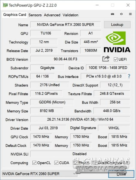 Gigabyte GeForce RTX 2060 SUPER Gaming OC 8G - GPU-Z