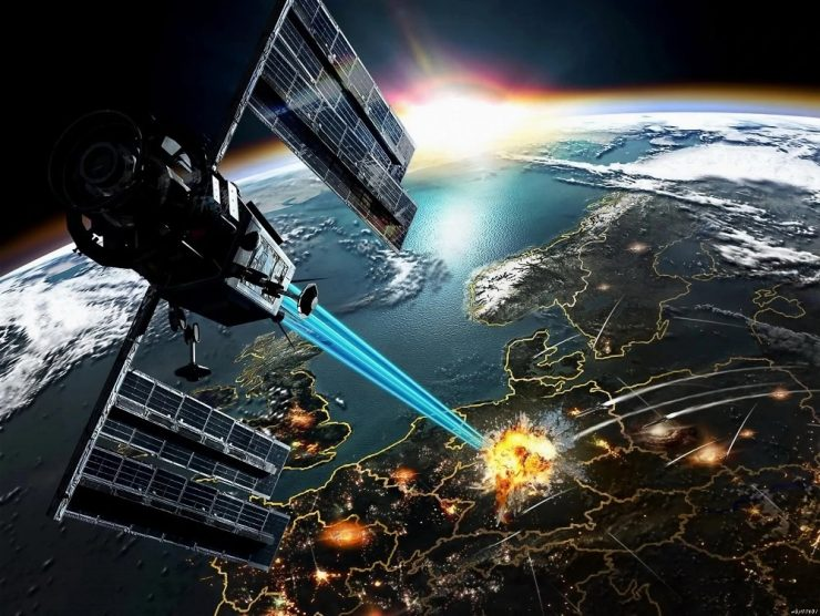 satélite con arma láser