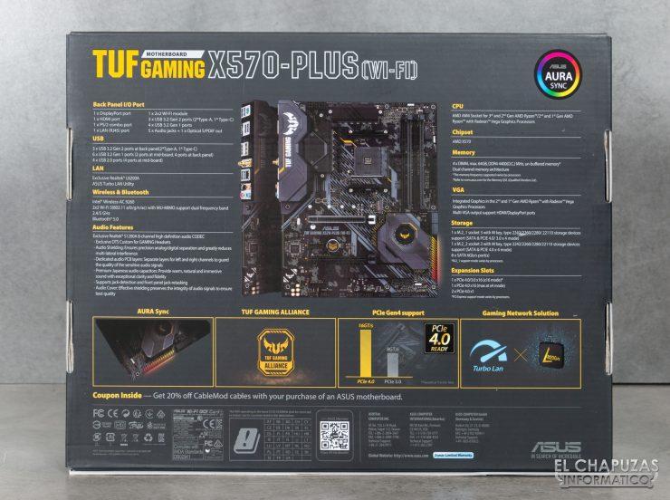 Asus TUF Gaming X570-Plus (Wi-Fi) - Embalaje trasero