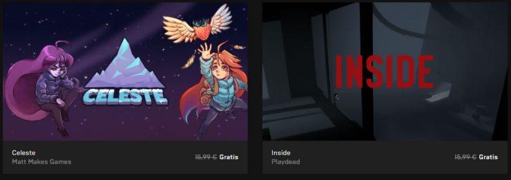 Celeste e Inside gratis en la Epic Games Store
